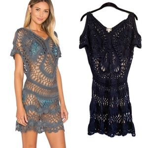 PILYQ Black Crochet Open Knit Tunic Swim Coverup